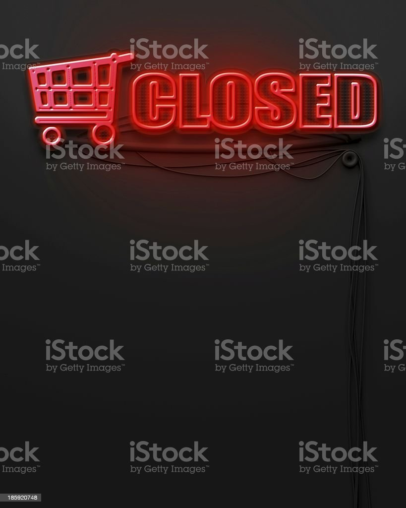 Neon glowing sign with word Closed, copyspace royalty-free stock photo