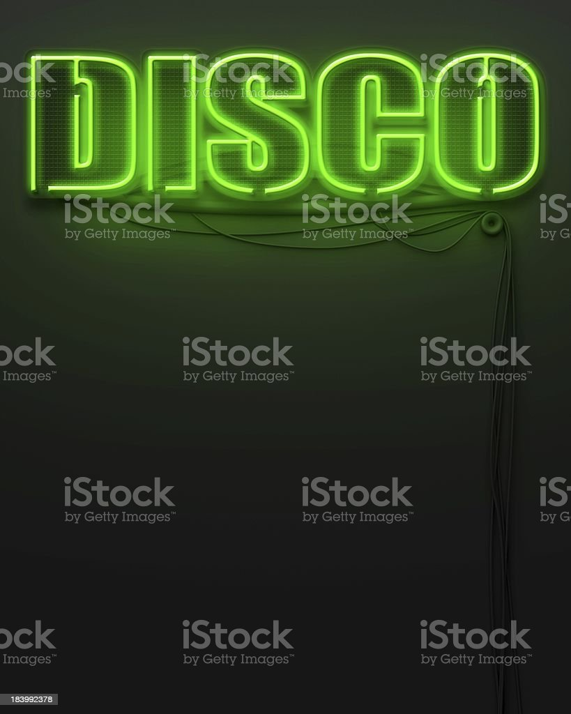 Neon glowing sign with word Disco, copyspace royalty-free stock photo