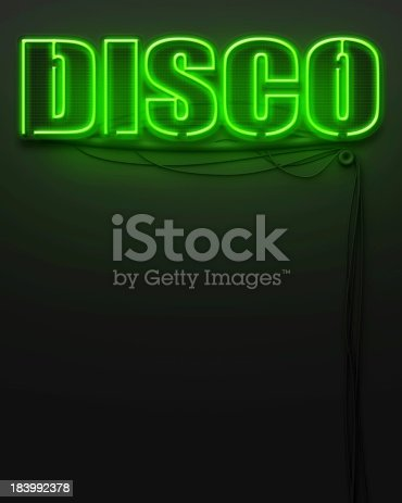 1056445350 istock photo Neon glowing sign with word Disco, copyspace 183992378