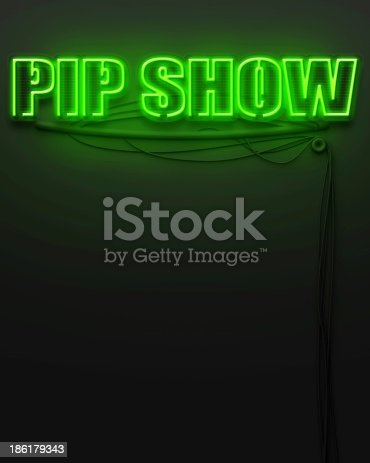 1056445350 istock photo Neon glowing sign with word Pip Show, copyspace 186179343