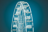 istock Neon glowing toning of white ferris wheel against the sky 1323373386
