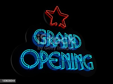 Neon Grand Opening Sign Ii Stock Photo & More Pictures of Advertisement