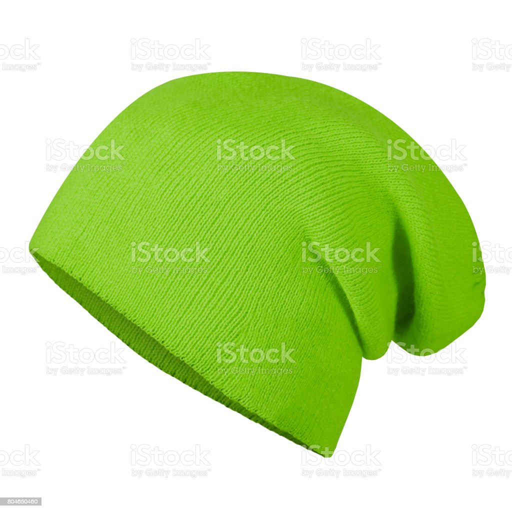 Neon grass green winter autumn beannie hat cap on invisible mannequin isolated on white stock photo