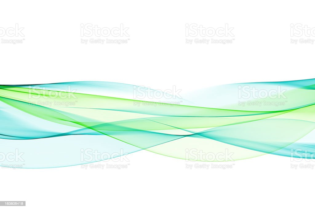 Neon green and turquoise wave pattern flowing through stock photo