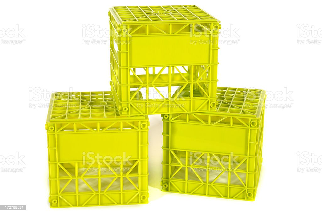 Neon Green Crates royalty-free stock photo
