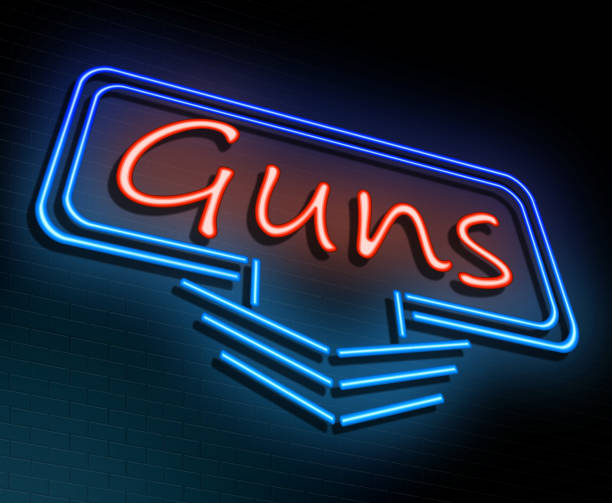 Neon guns sign. 3d Illustration depicting an illuminated neon sign with a guns concept. gun shop stock pictures, royalty-free photos & images