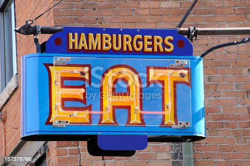 istock Neon Hamburgers Eat Sign Outside Fast Food Dive Resteraunt, Americana 157379766