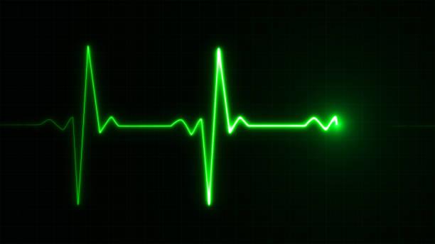 Neon Heart beat pulse in green illustration stock photo