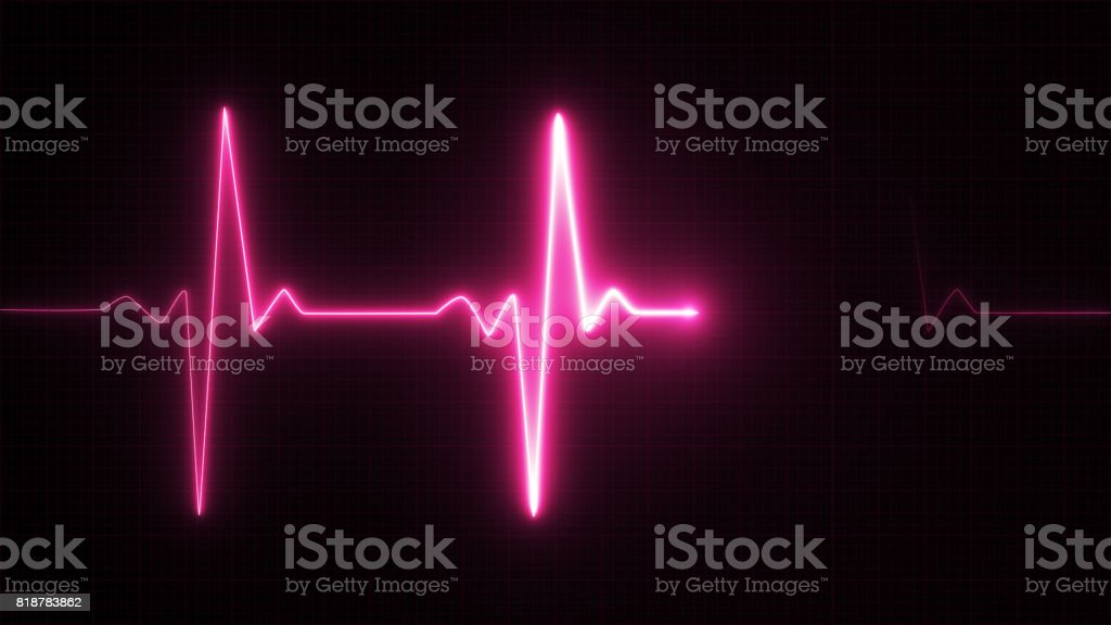 Neon Heart beat pulse in pink illustration stock photo