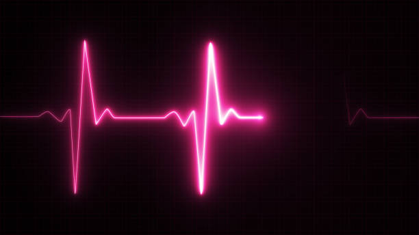 néon coeur battre pouls illustration rose - rythme cardiaque photos et images de collection