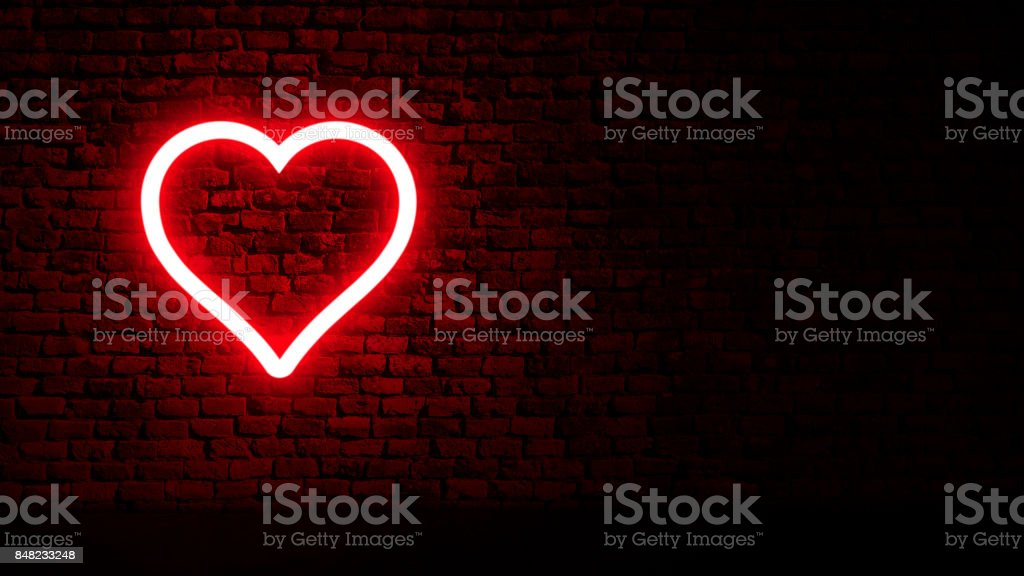 Neon heart on brick wall Color Light Sign Abstract Stock Photo