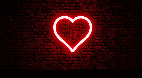 Neon Heart On Brick Wall Stock Photo - Download Image Now