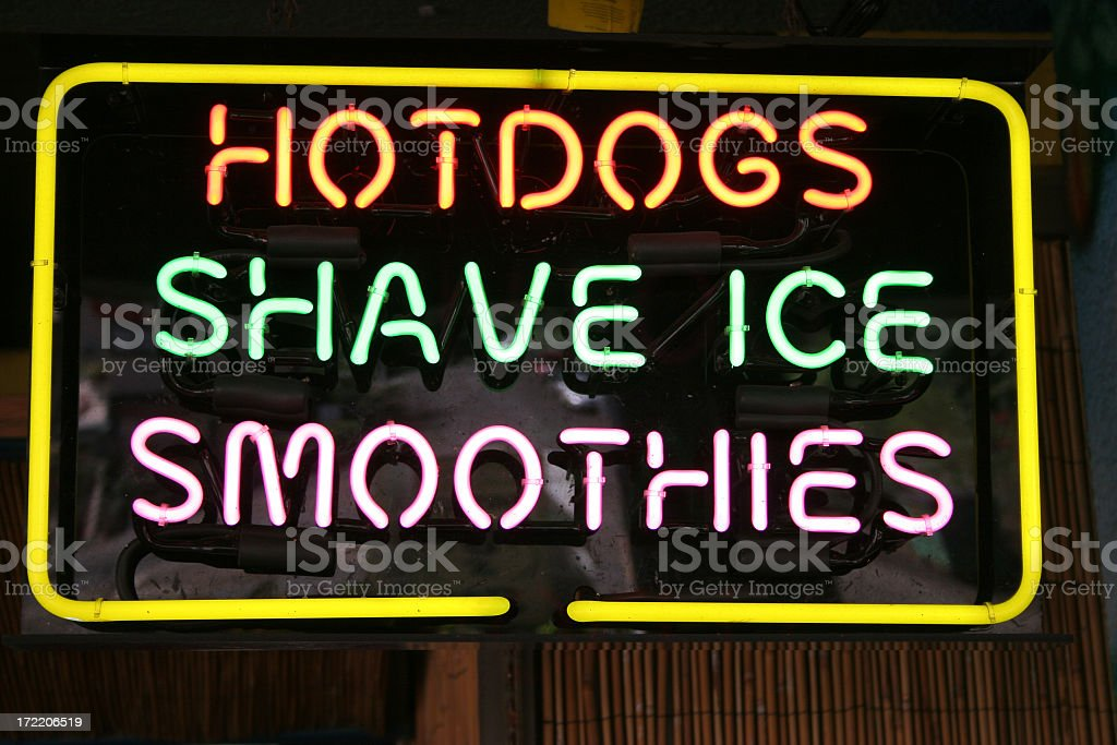 Neon hot dogs shave ice smoothies royalty-free stock photo