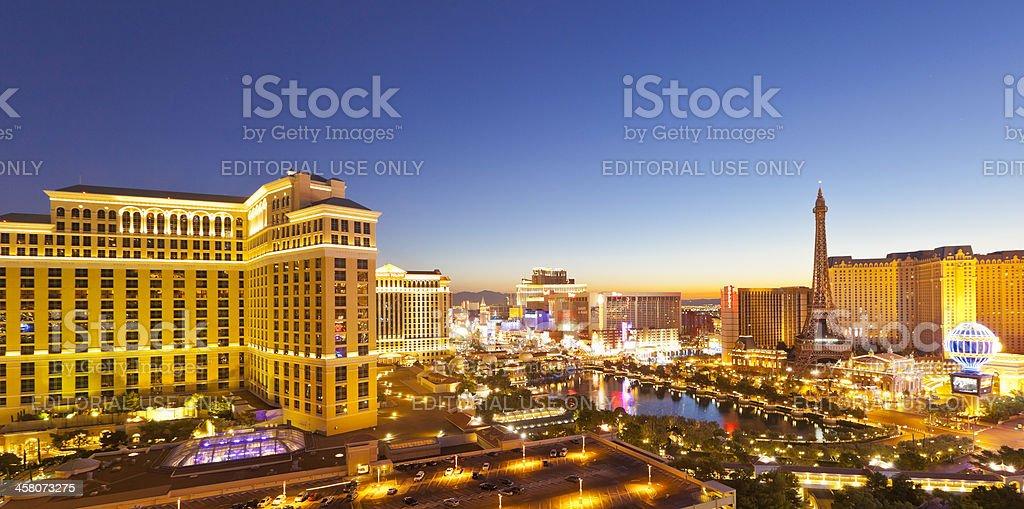 Neon illuminations of Las Vegas Strip at sunrise stock photo