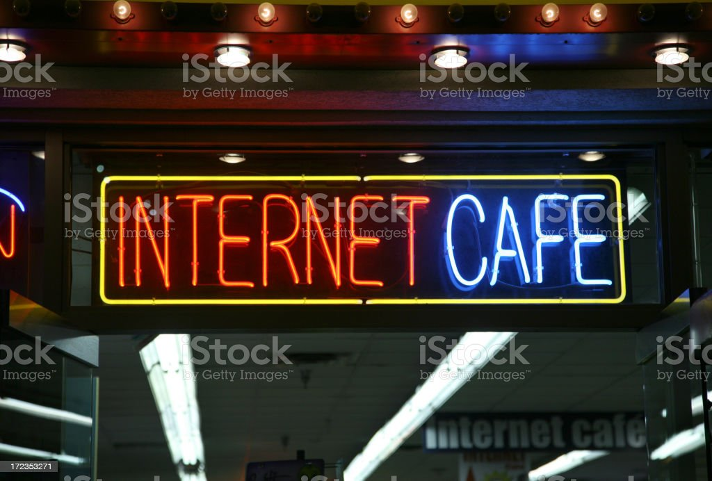 Neon Internet Cafe Sign stock photo