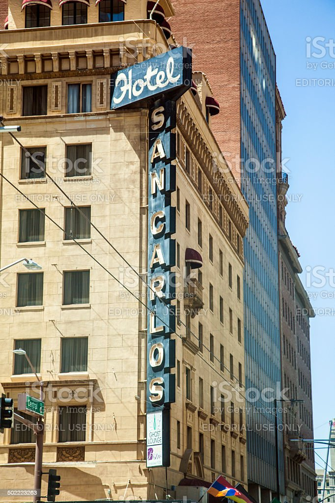 Neon letter at the facade of  SAN CARLOS hotel stock photo