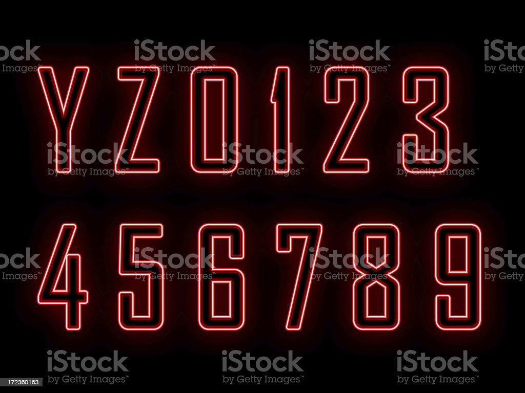 Neon letters and numbers Y-0 royalty-free stock photo