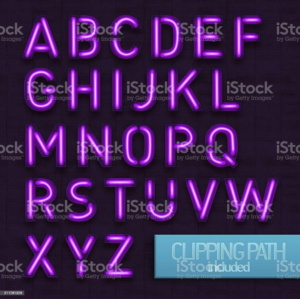Neon Letters Purple