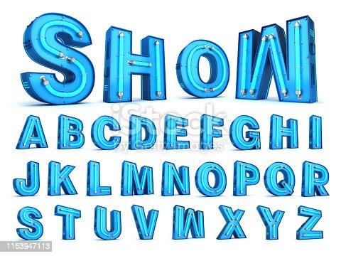 istock Neon light alphabet 3d rendering 1153947113