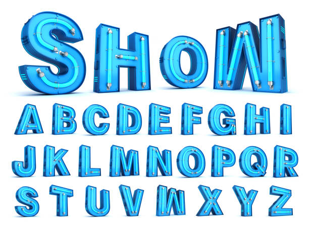neon light alphabet 3d rendering - typescript stock pictures, royalty-free photos & images