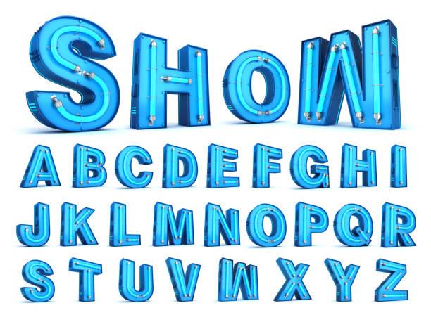 neon light alphabet 3d rendering - текст стоковые фото и изображения