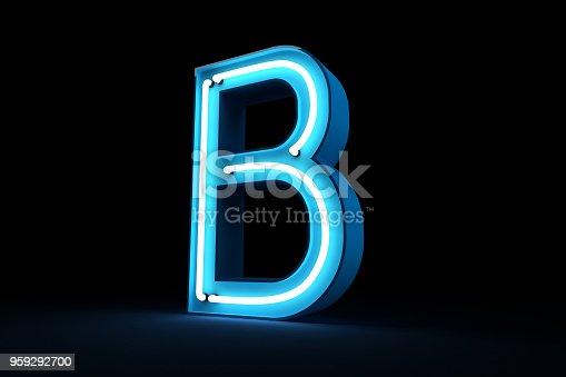 istock Neon light alphabet 3d rendering 959292700
