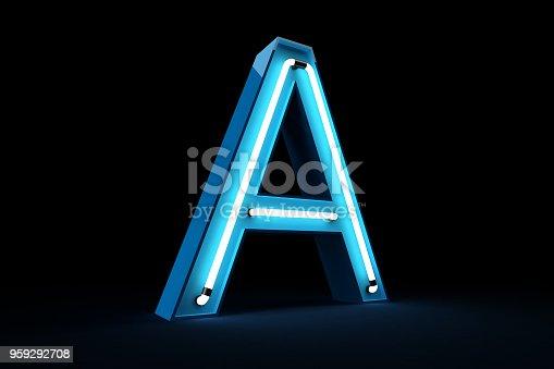 istock Neon light alphabet 3d rendering 959292708