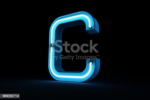 istock Neon light alphabet 3d rendering 959292714