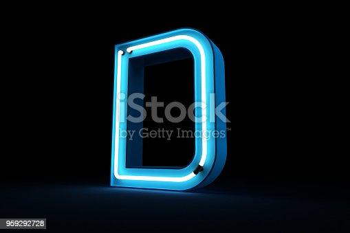 istock Neon light alphabet 3d rendering 959292728