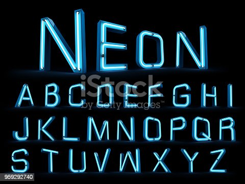 istock Neon light alphabet 3d rendering 959292740