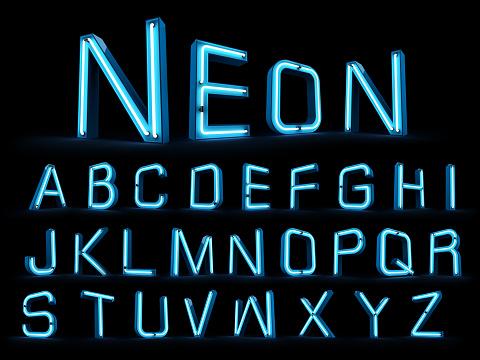 istock Neon light alphabet 3d rendering 959292740