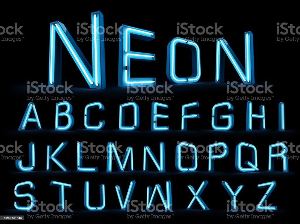 Neon light alphabet 3d rendering stock photo