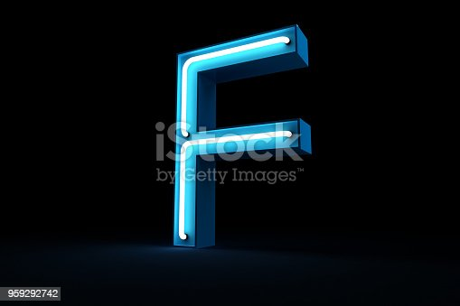 istock Neon light alphabet 3d rendering 959292742