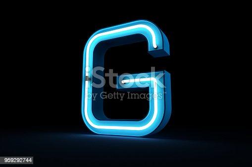 istock Neon light alphabet 3d rendering 959292744