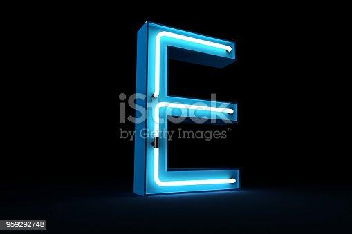 959292740istockphoto Neon light alphabet 3d rendering 959292748
