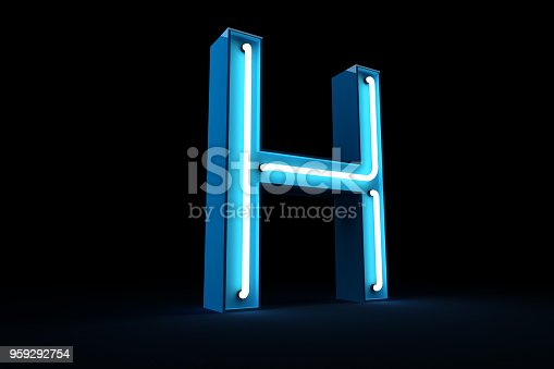 istock Neon light alphabet 3d rendering 959292754