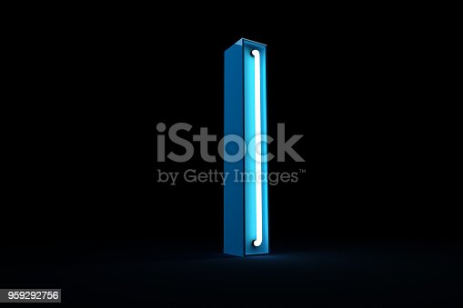 istock Neon light alphabet 3d rendering 959292756