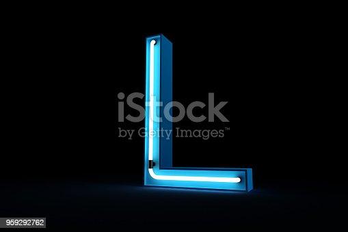 istock Neon light alphabet 3d rendering 959292762