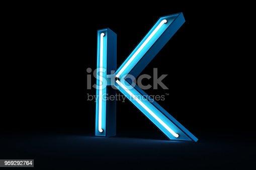 istock Neon light alphabet 3d rendering 959292764