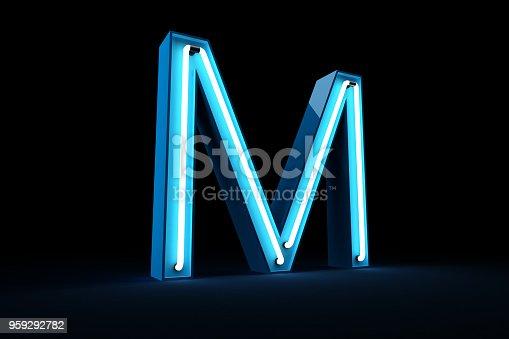 istock Neon light alphabet 3d rendering 959292782