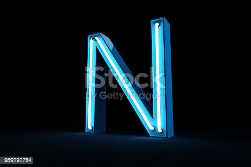 istock Neon light alphabet 3d rendering 959292784