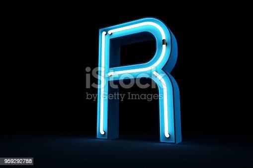 istock Neon light alphabet 3d rendering 959292788