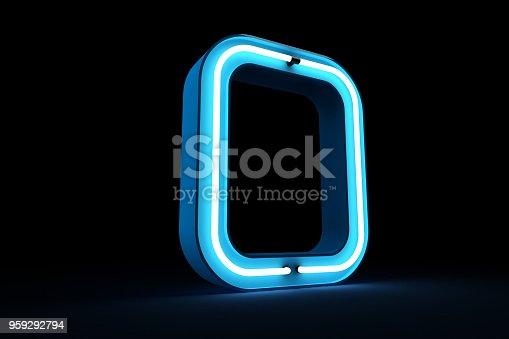 istock Neon light alphabet 3d rendering 959292794