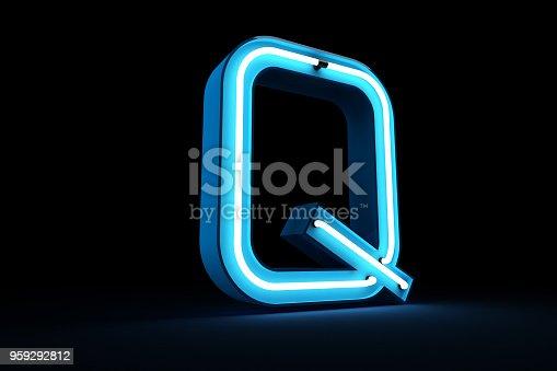 istock Neon light alphabet 3d rendering 959292812