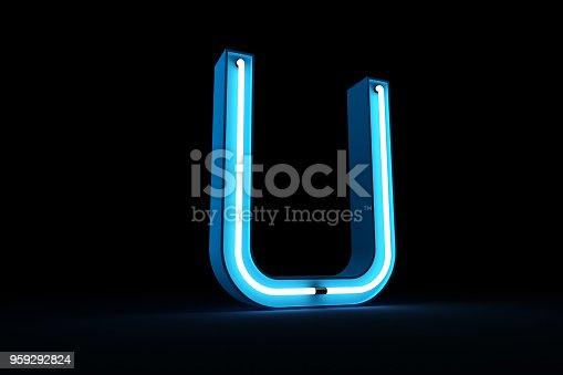 istock Neon light alphabet 3d rendering 959292824