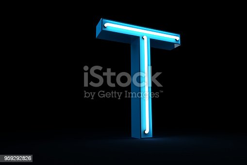 istock Neon light alphabet 3d rendering 959292826