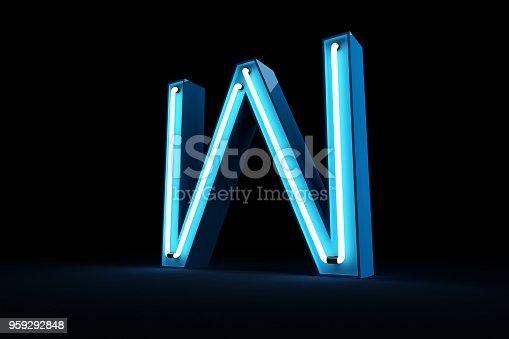 istock Neon light alphabet 3d rendering 959292848