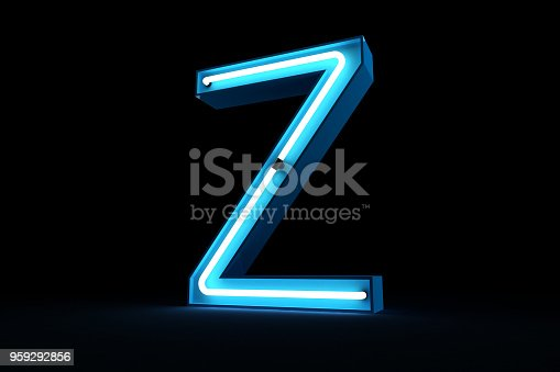 istock Neon light alphabet 3d rendering 959292856
