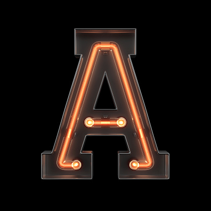 istock Neon Light Alphabet A 1169061214