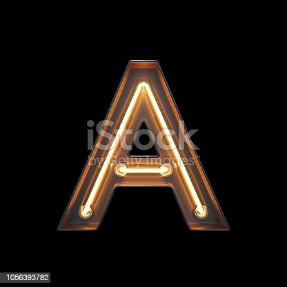 939169648istockphoto Neon Light Alphabet A with clipping path 1056393782